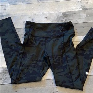 Lululemon fast and free green camo leggings